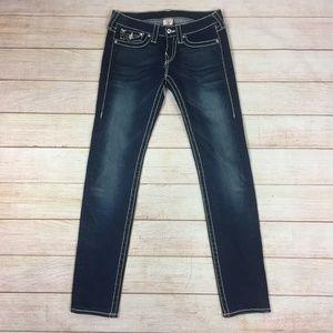 True Religion Dark Faded Skinny Jeans 27